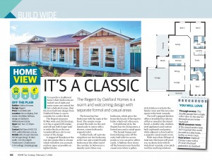 FEBRUARY 7, 2016: ADELAIDE, SA. Page 8 of Sunday Mail Home, dated 07/02/2016, with the headline 'It's a Classic' relating to Oakford Homes 'Regent'. (Photo by News Ltd / Newspix) Contact Email: newspix@newsltd.com.au Contact Web URL: www.newspix.com.au Contact Email: newspix@newsltd.com.au